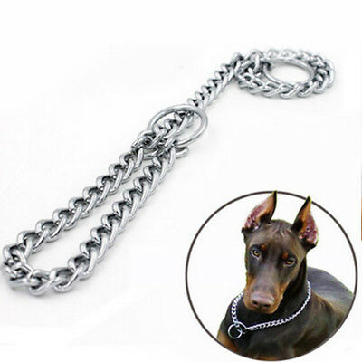 Pet Dog Choke Chain Choker Collar Strong Silver Stainless Steel Training 4 Sizes