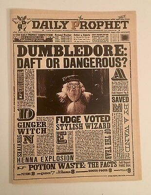 Daily Prophet Dumbledore Handmade HARRY POTTER Fans Cover Party Props Cosplay