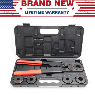 """US Stock PEX Pipe Crimping Tool Kit for 3/8,5/8,1/2,3/4,1"""" with Free Hard Case"""