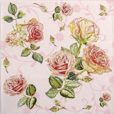 4x Paper Napkins for Party, Decoupage Craft Rosie Rose