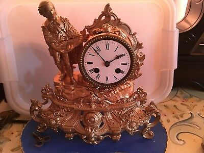 Antique French Figural Mantle Clock With Bell Chimes By S Marti et Cie