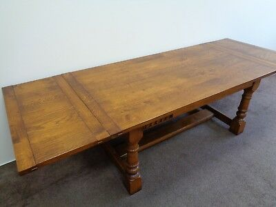 LARGE 9ft EXTENDING OAK ANTIQUE STYLE FARMHOUSE REFECTORY DINING TABLE