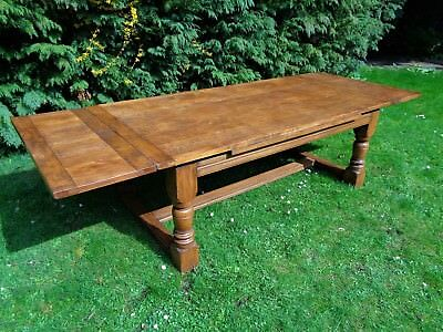 VERY LARGE EXTENDING 10ft OAK ANTIQUE STYLE FARMHOUSE REFECTORY DINING TABLE