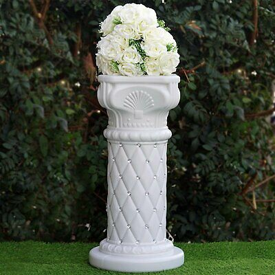 """4 pcs WHITE 25"""" tall Decorative Wedding Columns Pedestals with Crystal Beads"""