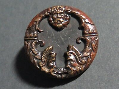 Antique Green Man Border Picture Button - Tinted