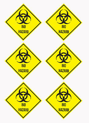 6 x Bio Hazard Sign, Vinyl Stickers - 100x100mm (L1023)