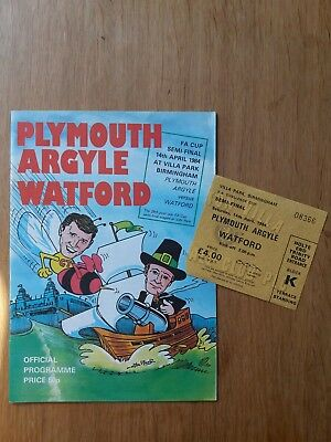 1984 FA Cup Semi Final Programme and RARE ticket - Plymouth vs Watford