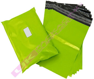 """100 SMALL 10x14"""" NEON LIME GREEN PLASTIC MAILING PACKAGING BAGS 60mu PEEL+ SEAL"""