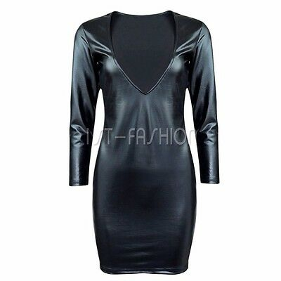 Sexy Damen Bodycon Lackleder Abend Party Cocktailkleid Bleistiftkleid Minikleid