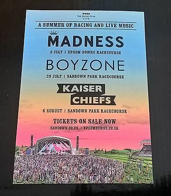 Madness live at Epsom Racecourse 9th July 2015 doubleside promo postcard
