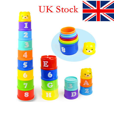 Stacking up Rainbow Cups Tower Boys Girls Bath Time Toys Birthday Kids Gift NP
