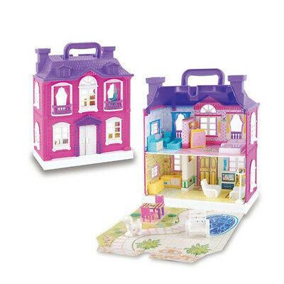 Girls Doll House Play Set Pretend Play Toy For Kid Pink Dollhouse Children ! !