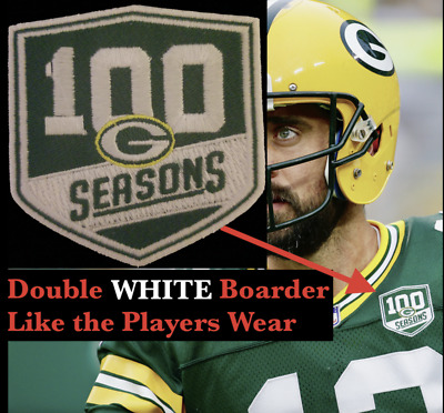 """GREEN BAY PACKERS 100 SEASONS CAP STYLE PATCH 2/"""" 100th SEASON RODGERS LIMITED ED"""