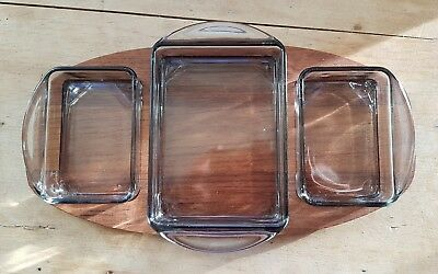 Mid Century Danish Digsmed Wooden  Serving Tray Glass Dishes