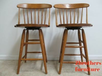 Vintage Pair Oak Bent Brothers Windsor Back Counter Bar Stools Revolving B