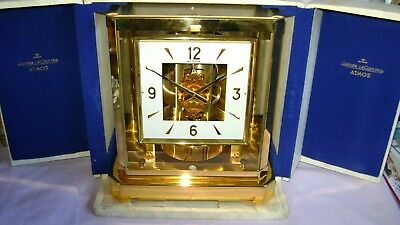 RARER SQUARE DIAL JAEGER LECOULTRE ATMOS CLOCK 528-8 + PRES CASE LATE 60's IMMAC