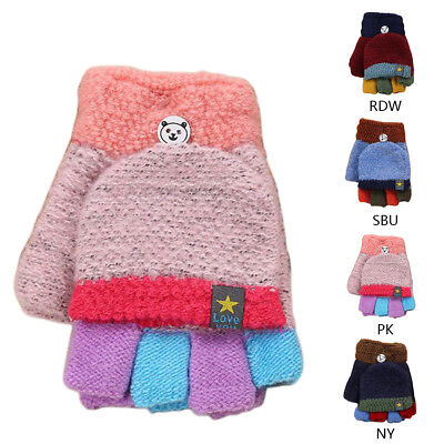 Unisex Toddler Magic Knit Gloves Winter Half Finger Snow Ski Thermal Hand Warm