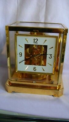 1982 Rarer Square Dial Jaeger Lecoultre Atmos Clock 528-8 Serviced & Re-Gassed