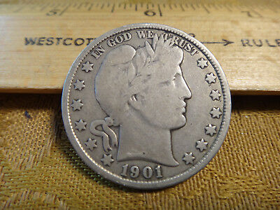 1901 United States Barber Silver Half Dollar 50c - Free S&H USA