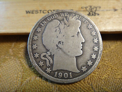 1901-O United States Barber Silver Half Dollar 50c - Free S&H USA