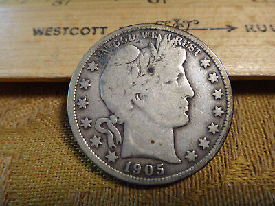 1905 United States Barber Silver Half Dollar 50c - Free S&H USA