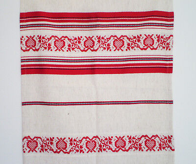 NWT HUNGARIAN Ivory Linen-Cotton Hand Loomed TABLE RUNNER RED BLACK Embroidery