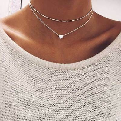 Gold / Silver Double Layer Beaded Chain Choker Necklace Heart Pendant UK NL105