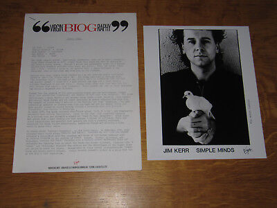 Simple Minds -  Once Upon A Time 1985 Uk Promo Press Release & Promo Press Photo