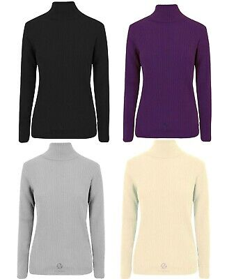 Kids Boys Girls Polo Neck Ribbed Jumper Top Turtle Roll Neck Winter Top 2-10 Yrs