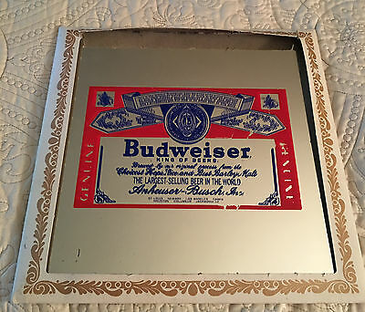 Collectible Vintage Budweiser Beer Bar Mirror In Original Cover