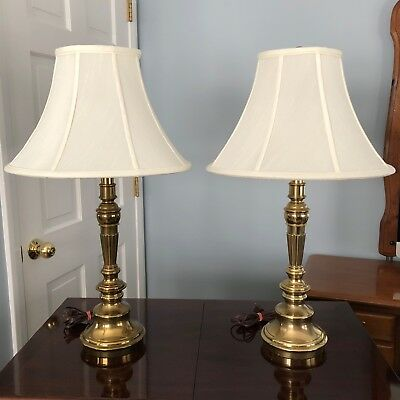 1990s Vintage STIFFEL Brass Table Lamps - Candlestick Style - A Pair