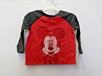 Boys Size 12 Months Disney Red/Gray Mickey Mouse Baseball Tee New Nwt #12749