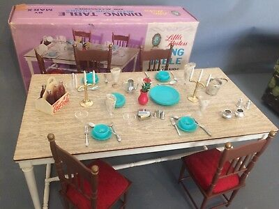 """Marx Little Hostess Dining Table with 4 Chairs Boxed for 10"""" - 12"""" Dolls Sindy"""
