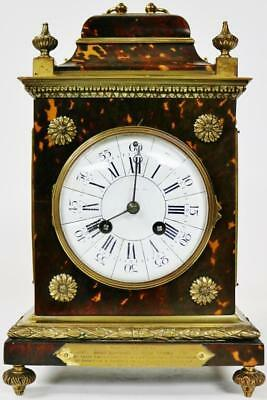 Rare Untouched Antique French 8Day Caddy Top Shell & Bronze Mantle/Bracket Clock