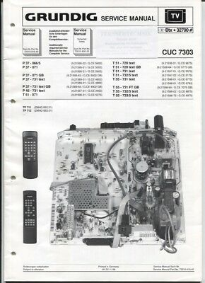 Grundig Service Manual  CUC 7303   P 37-066/5  P45-731 text   T51-720 text usw.