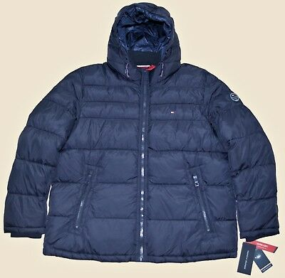 New XXL 2XL Tommy Hilfiger Mens quilted padded puffer winter jacket coat Navy