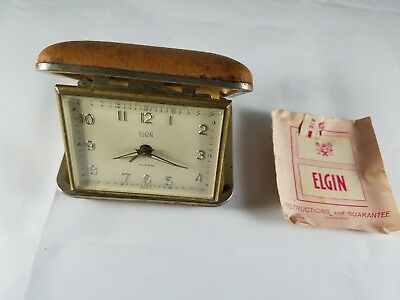 Vintage ELGIN Brown Clamshell Case Wind Up Travel Alarm Clock w/insert 60s Works