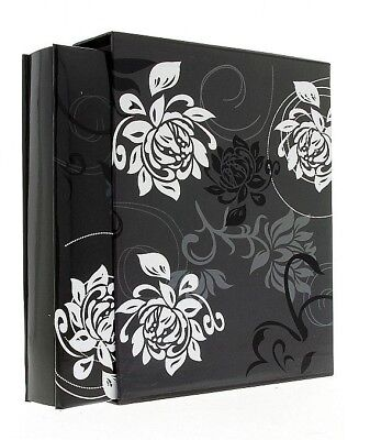 "Black Flowers Slip In Photo Album In Box Holds 200 6"" x 4"" Photos Memories Gift"