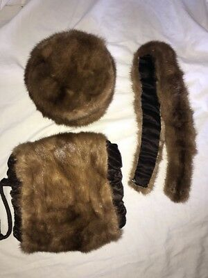 Vintage Mink hat, hand muff and collar set 1940's 1950's