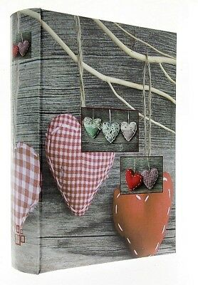 """Grey Slip In Photo Album Holds 200 6"""" x 4"""" Photos Memo Area Home Red Heart Gift"""