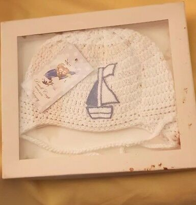 Gift Boxed Powell Craft Hand Made NB Baby Boy's Cotton Crochet Hat