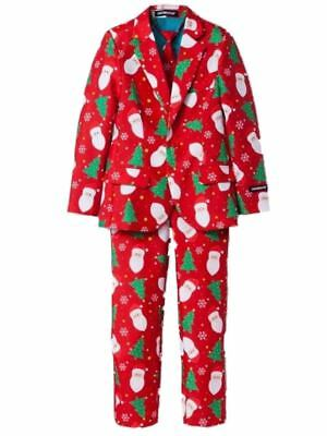 Mens Red Santa Claus Ugly Holiday Christmas Suit Sportscoat Slacks & Tie