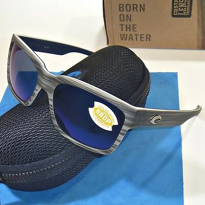 85282ea599 Costa Del Mar Playa Polarized Sunglasses-Matte Silver Teak Blue Mirror 580P  Lens