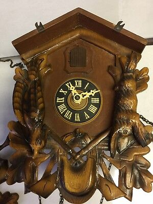 VINTAGE HUNTER CUCKOO CLOCK  WITH DEER HEAD TOPPER Made In GERMANY
