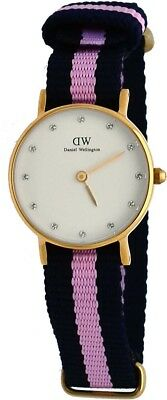 7d8c6b409d31 Daniel Wellington 0906DW Women s Gold Tone 26mm Winchester Fabric Band Watch