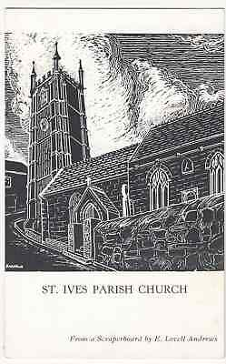 Cornwall; St Ives Parish Church, From a Scraperboard By E Lovell Andrews RP PPC