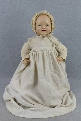 "22"" old antique composition cloth E.I.H. Horsman Baby Dimples Doll"