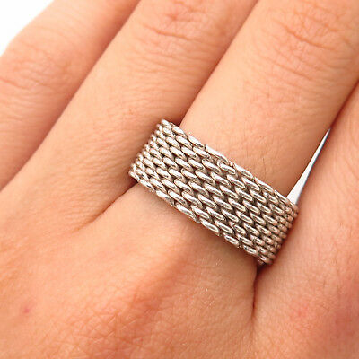 925 Sterling Silver Somerset Mesh Chain Linked 8mm Finger Ring Size 3-11 Y022