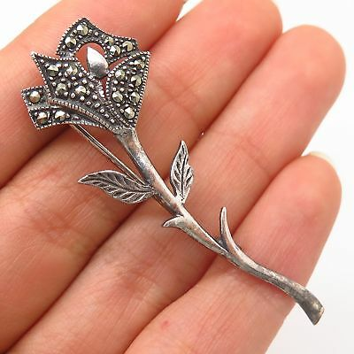 Pins, Brooches 925 Sterling Silver Vintage Real Marcasite Gemstone Floral Pin Brooch Retro, Vintage 1930s-1980s