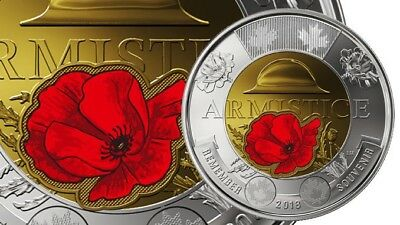 Canada 2018 Colored Armistice Poppy Toonie $2 Coin From Roll UNC